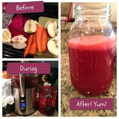 beets, 2 apples, 2-4 carrots, 1 whole lemon, 1/2 ginger. I didn't peel the beets, and I added some kale. This is SO GOOD I want to drink it every day.