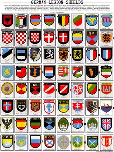 World War II non-German foreign volunteer legion shields