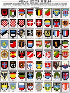 World War II non-German foreign volunteer legion shields
