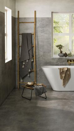 Muster Bath wood stool and wood ladder Bathroom Vinyl, Concrete Bathroom, Bathroom Spa, Bathroom Flooring, Bathroom Faucets, Bathroom Interior, Small Bathroom, Bad Inspiration, Bathroom Inspiration