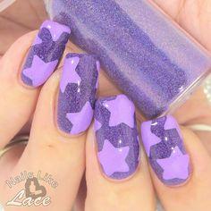NailsLikeLace: Purple on Purple Holo with Stars