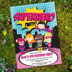 "Zoom! Wham! Zap! The coolest girl superhero party invitation in town. Add your own text to the template and print at home or send to your local print shop.  FILE INCLUDES: Themed Party Invitation (5"" x 7"") (Print two invitations per page) Please note the text field ""SUPERHERO"" is not an editable field."