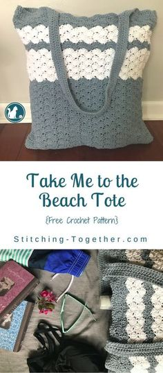 Enjoy this free and simple crochet pattern for the Take me to the Beach Tote.