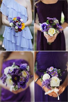 A DIY Purple Rustic Wedding captured in San Diego by Priscila Valentina Photography, with a gorgeous DIY primary colored wedding bouquet. Rustic Purple Wedding, Purple Wedding Bouquets, Flower Bouquet Wedding, Wedding Colors, Bridesmaid Bouquets, Flower Bouquets, Bridal Bouquets, Wedding Bridesmaids, Wedding Pins