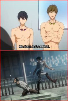 Shingeki no Kyojin x Free! Crossover.. you don't know how hard i'm laughing right now X'D