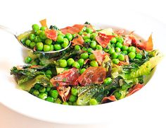 Peas and Romaine Lettuce with Mint and Crispy Prosciutto // wishfulchef.com