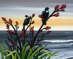*TWO TUI & FLAX* - Original by Wildart for sale on Trade Me, New Zealand's auction and classifieds website New Zealand Art, New Art, Maori Art, Art Images, Native Artwork, Art Pictures, Landscape Art, Abstract Art Landscape, Nz Art