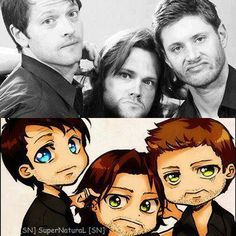 Wtf Dean and Sam? Misha looks angelic. No pun intended
