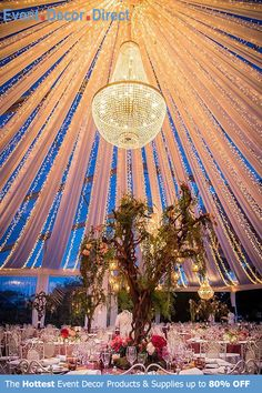 Event Decor Direct's Empire Chandeliers are perfect for event designers that want to add some sparkle to their decor. The premium quality acrylic crystals keep them lightweight and affordable. We have many different styles, sizes and colors available. And most chandeliers ship free when your order totals $99 or more. Shop Now at EventDecorDirect.com Tent Decorations, Wedding Stage Decorations, Wedding Themes, Wedding Designs, Wedding Venues, Chandelier Wedding Decor, Wedding Ceiling, Hanging Chandelier, Event Decor Direct