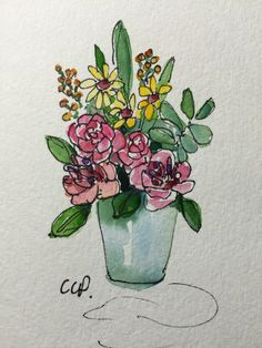 Vase of Blooms Watercolor Card / Hand Painted Watercolor Cards This lovely vase of Blooms is sure to cheer. I have used ink and watercolor on this