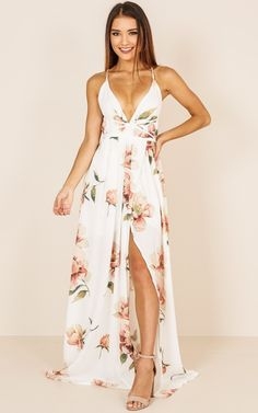 The maxi dress features spaghetti strap and v neck. The maxi dress is floral printed and backless. The maxi dress feature lace-up and slit. The maxi dress can make you more fashionable,sexy and beautiful. Cute Dresses, Beautiful Dresses, Casual Dresses, Formal Dresses, Sexy Maxi Dress, Maxi Dress With Slit, White Floral Dress, Floral Maxi Dress, Spring Dresses