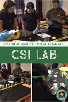 engaging CSI Lab to help students observe and classify physical and chemical changes in the middle school science classroom.Super engaging CSI Lab to help students observe and classify physical and chemical changes in the middle school science classroom. High School Chemistry, Teaching Chemistry, Science Chemistry, Physical Science, Science Education, Earth Science, Science Activities, Forensic Science, Science Labs For Middle School