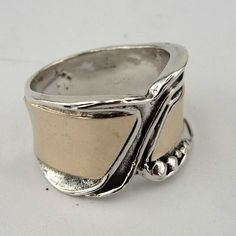 Hadar Handcrafted 9K Yellow Gold Silver Ring size by hadarjewelry, $99.00