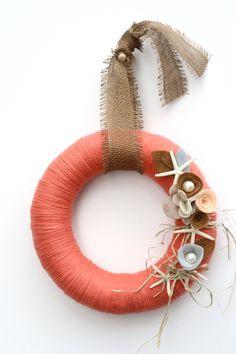 "12"" Coral summer/seashell/beach yarn wreath - The Caroline"