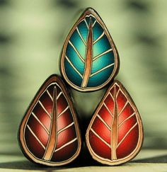 Set of 3 Mini Polymer Clay Leaf Canes  'Renewal' by ikandiclay, $7.00
