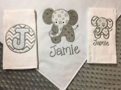 Newborn gift set baby gift set baby blanket set elephant elephant baby blanket elephant burp cloth set personalized baby blanket personalized burp cloths embroidered elephant baby blanket blue negle Images