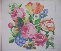 Bouquet Of Flowers Needlepoint Canvas