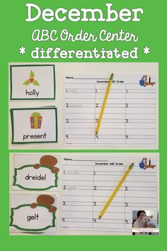 Check out this fantastic activity that helps students practice putting words in alphabetical order! This differentiated activity works great as a center activity, a stand alone activity, a collaborative table group activity or even can be sent home with families for some additional ABC order practice. #alphabeticalorder #elementary #vocabulary #wordwork #winter #December #Christmas #Hanukkah #Kwanzaa #gingerbread #center #teaching