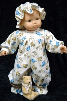 """Girls Baby Zoo Animals Pajamas to fit 14"""" - 16"""" dolls such as the Bitty Baby® doll."""