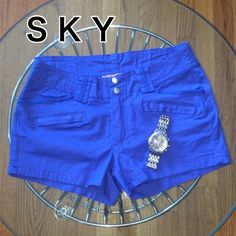 "Sky- Electric Blue Shorts Gorgeous color with no flaws. Worn once! Cotton and spandex. Waist band 13"", inseam 2 1/2"", length 10"". With plenty of stretch to them Sky Shorts"
