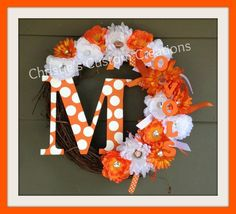 """Football WREATH - 18"""" Tennessee Vols Sports Initial Wreath - GO VOLS - Made to order with your team and monogram Initial.. $53.50, via Etsy."""