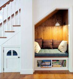 63 Incredibly cozy and inspiring window seat ideas Reading Nook Closet, Bed Nook, Cozy Nook, Reading Nooks, Closet Book Nooks, Reading Areas, Corner Closet, Kids Reading, Under Stairs Nook