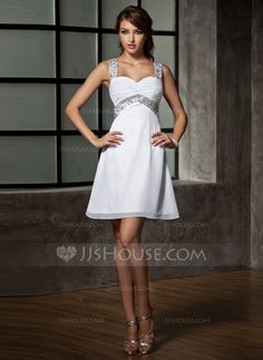 8th grade formal:  Empire Sweetheart Short/Mini Chiffon Homecoming Dress With Ruffle Beading Sequins (022020867)