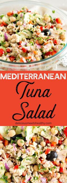 Mediterranean Tuna Salad so much flavor and so easy to put together! is part of Mediterranean tuna salad - Mediterranean Tuna Salad, Mediterranean Diet Meal Plan, Mediterranean Dishes, Easy Mediterranean Recipes, Mediterranean Appetizers, Good Healthy Recipes, Healthy Salads, Healthy Eating, Healthy Foods
