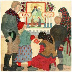 The Village Church on Christmas Da. By Steffi Kraus, Christmas art by children, 1922