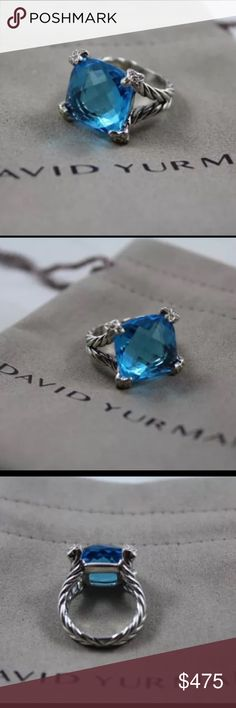 """David Yurman Cushion on Point Blue Topaz Ring- Sz6 ABSOLUTELY GORGEOUS David Yurman Cushion-On-Point Blue Topaz Ring. Stone is VERY LARGE (measuring 15mm), with diamonds (0.10 total carat weight). Size 6. This ring in PRISTINE condition. It's from my personal collection. Im super reluctant to sell, but we need roof repairs. All the photos are of the actual ring (not stock images), and you can see that it's in """"like new"""" condition. David Yurman dust-bag included. No trades on this item unless…"""