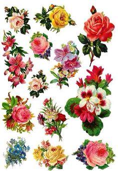 Vintage Sticker resource for DIY or print (pic from the web) Decoupage Vintage, Decoupage Paper, Vintage Ephemera, Vintage Postcards, Flower Images, Flower Art, Flower Pictures, Rose Clipart, Heart Stencil