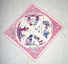 Raggedy Ann Andy 4 Seasons Handkerchief – Johnny Gruelle Company SCARCE! 1940's Raggedy Ann And Andy, 1940s, Bohemian Rug, Seasons, Seasons Of The Year