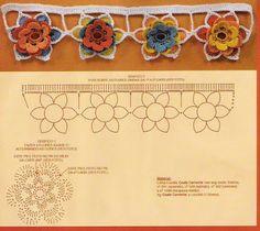 Patrón: Puntilla con flores multicolores :) | Tejido Facil