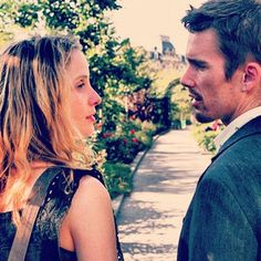 A movie where the characters walk around Paris exchanging ideas about the journey of life.my type of film Before Sunset Before Sunrise Trilogy, Before Trilogy, Before Sunset, Before Midnight, All Movies, Great Movies, Love Movie, Movie Tv, Julie Delpy