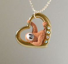 fanART Heart sloths hang around unique sloth by ElectronicGirl, $55.00....LAST gold one available!