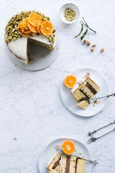 ... orange chocolate pistachio and mascarpone cake ...