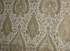 Pure Heavy Silk Brocade Fabric Metallic Gold & Ivory