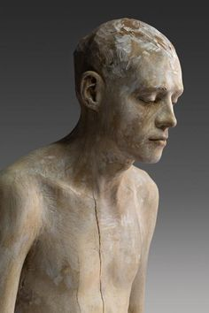 'Camminando solo' (2007) by Italian artist Bruno Walpoth (b.1959). Sculpture, wood, 87 cm. via the artist's site