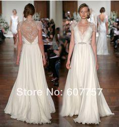 2014 nuevo estilo de vestido de noche corto mangas de gasa blanco de encaje plisado rebordear ocasión en de en Aliexpress.com