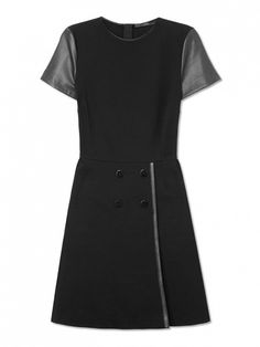 Try leather detail on your Little Black Dress. // Stretch Jersey Dress at Les Copains