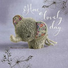 "Elephant ""Tiddly pom pom"" by Eleri Fowler for Paper Rose greeting card"