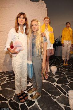 Alexa Chung and Shrimps' designer Hannah Weiland - At the Shrimps SS2015 fashion show @ London Fashion Week. (September 2014)