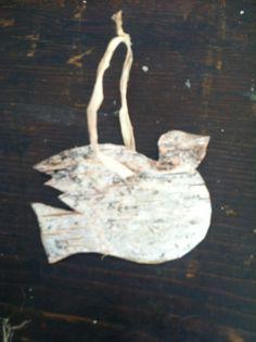 Birch bark dove ornament