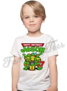 Teenage Mutant Ninja Turtles Birthday Shirt Add Name & Age TMNT Custom Birthday Party TShirt 01 by fantaztictees on Etsy https://www.etsy.com/listing/522838721/teenage-mutant-ninja-turtles-birthday