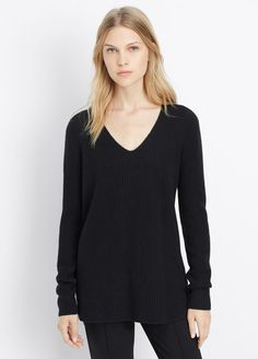 Cashmere Ribbed Fitted V-Neck Sweater