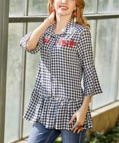 Suzanne Betro Weekend Navy & White Gingham Embroidered Ruffle-Hem Top - Women & Plus Classic Looks, Soft Classic, Blouses For Women, Ladies Blouses, Navy And White, Gingham, Plus Size Fashion, Bell Sleeve Top, Dressing