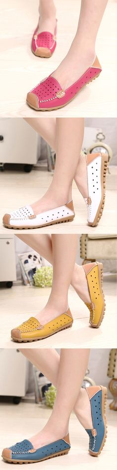 US$15.61  Leather Color Match Hollow Out Soft Breathable Slip On Flat Shoes