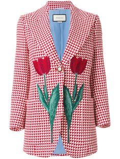 Shop Gucci tulip triangle check blazer.
