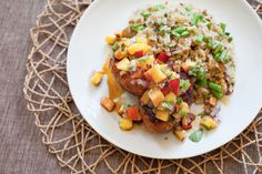 Spice-Rubbed Pork Medallions with Peach Salsa  & Cilantro-Green Bean Rice