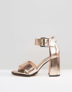 67067f363f2 Lost Ink Mollie Rose Gold Flare Heeled Sandals